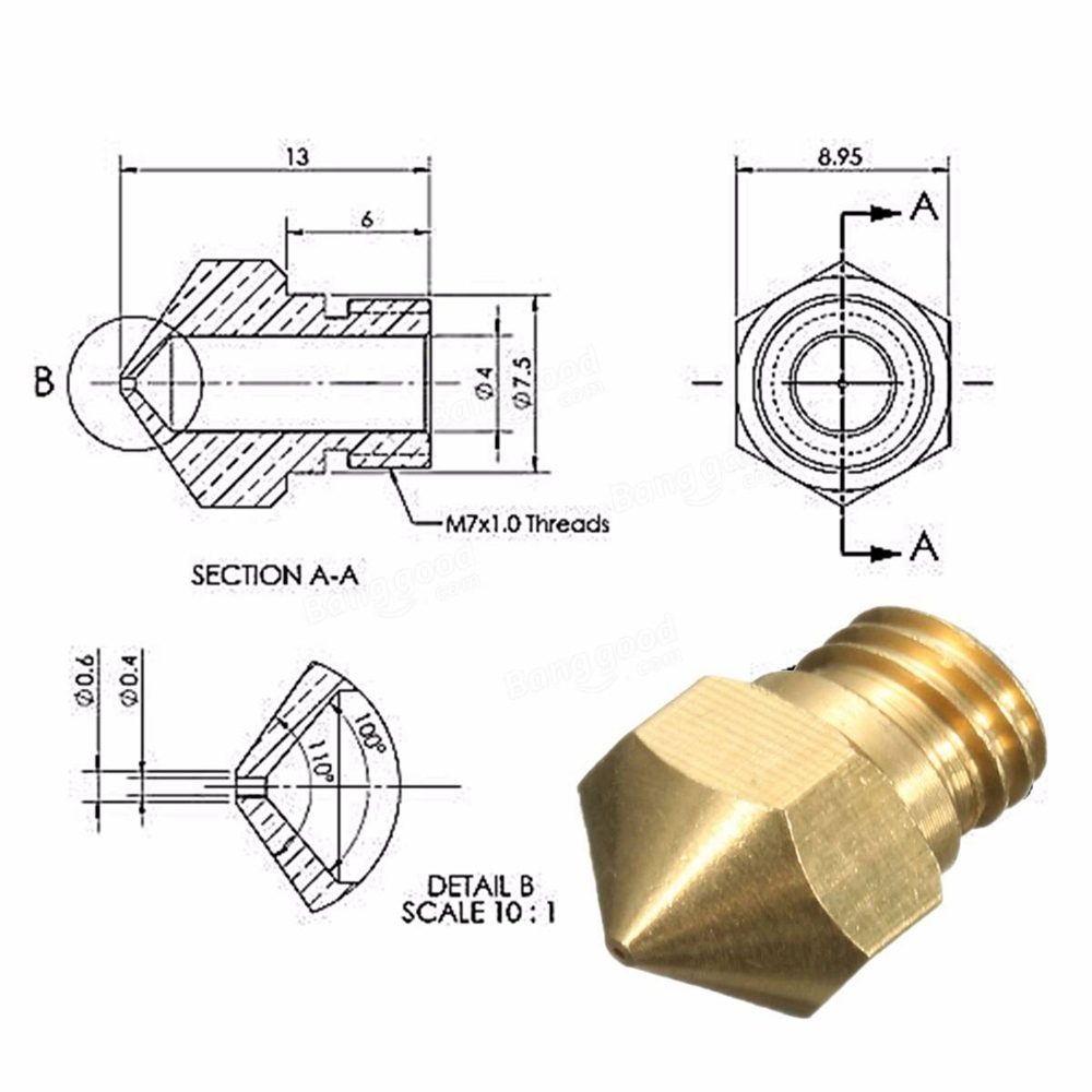 Brass 3D Extruder Upgrade Wear Resistant MK8 Nozzles manufacture
